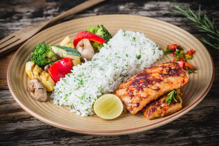 Harissa Grilled Fish with Herb Rice