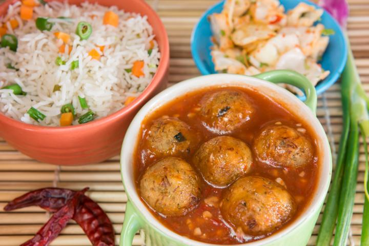 Veg Manchurian with Fried Rice