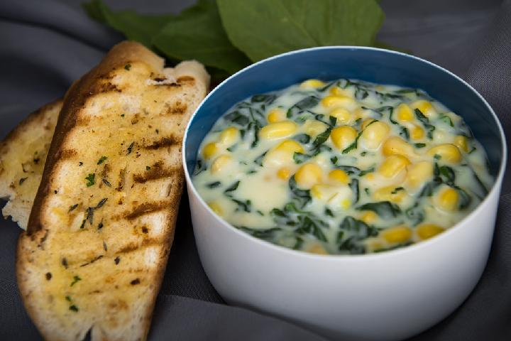 Baked Corn with Baby Spinach