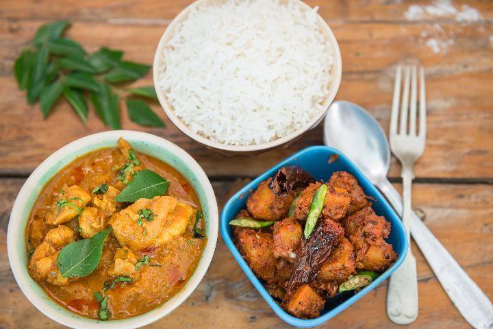 Karaikudi Chicken with Urulai Varuval