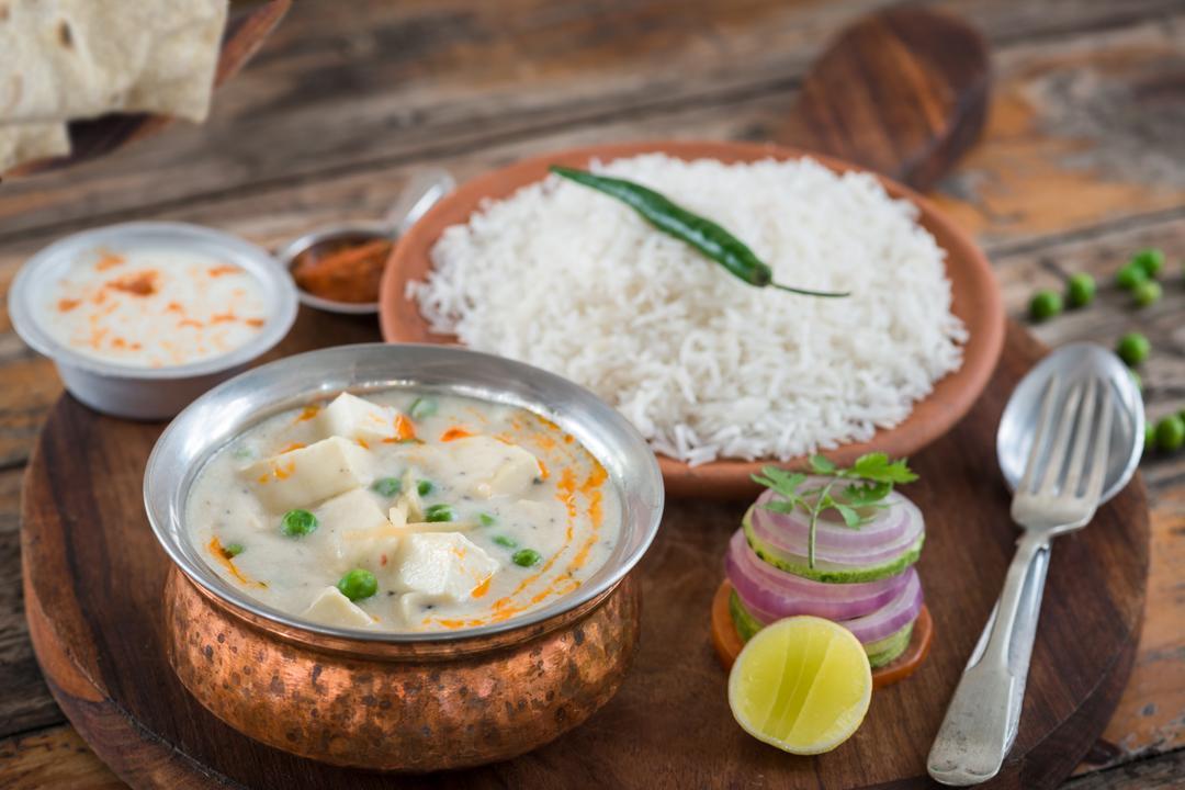 Paneer Methi Matar Malai with Rice