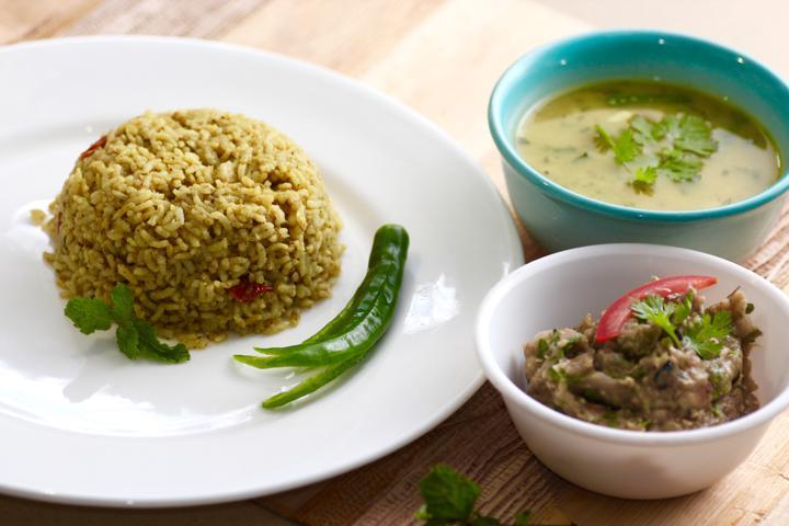 Spicy Baigan Bharta with Pudina Rice