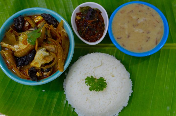 Fish Curry with Rice and Dal Payasam