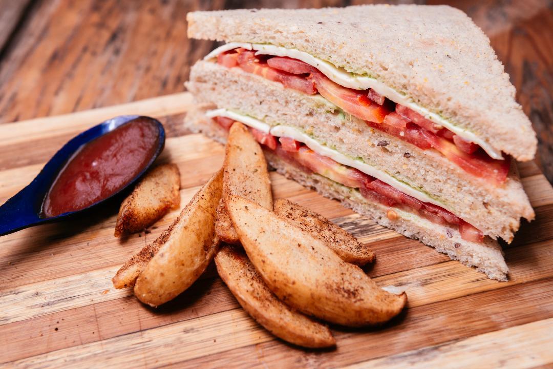 Tomato Cheese and Pesto Sandwich