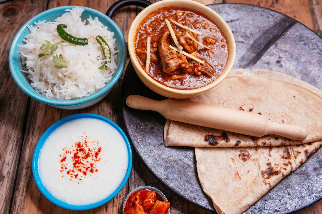 Rara Murgh, Rice, Chapati, Curd and pickle