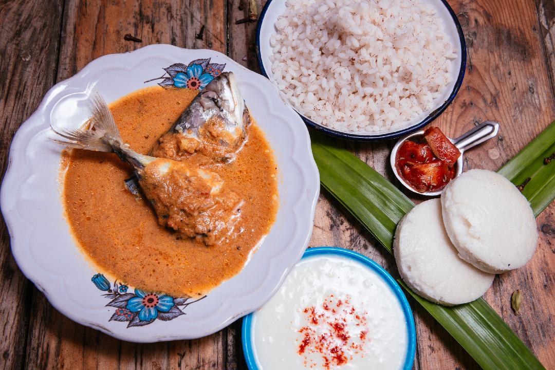 Goan fish curry (Mackerel), Goan rice, Sanna, curd